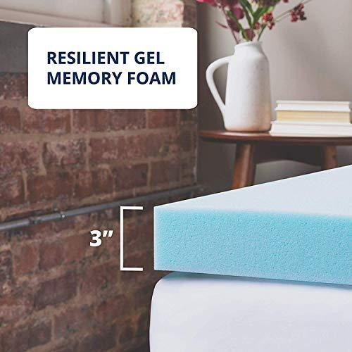 ViscoSoft Memory Foam Mattress Topper Twin XL | 3 Inch Reflex Gel Mattress Pad
