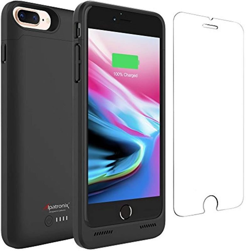 iPhone 8 Plus / 7 Plus Battery Case Qi Wireless Charging Compatible, Alpatronix BX190plus 5.5-inch 5000mAh Rechargeable Protective Portable Charger iPhone 8+/7+ Juice Bank Power Pack - Black