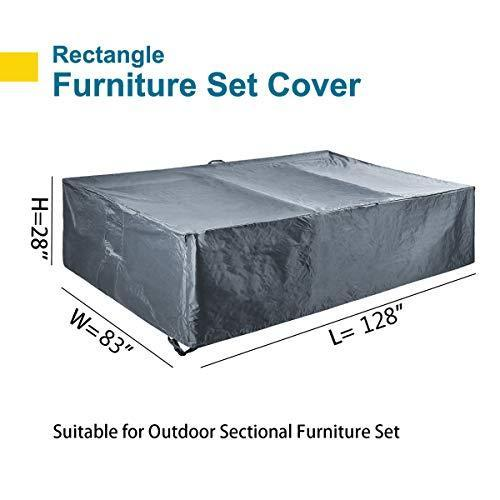 "Patio Furniture Set Covers Waterproof Outdoor Sectional Conversation Loveseat Sofa Set Covers Waterproof Patio Table Covers Heavy Duty 128"" L x 83"" W x 28"" H"