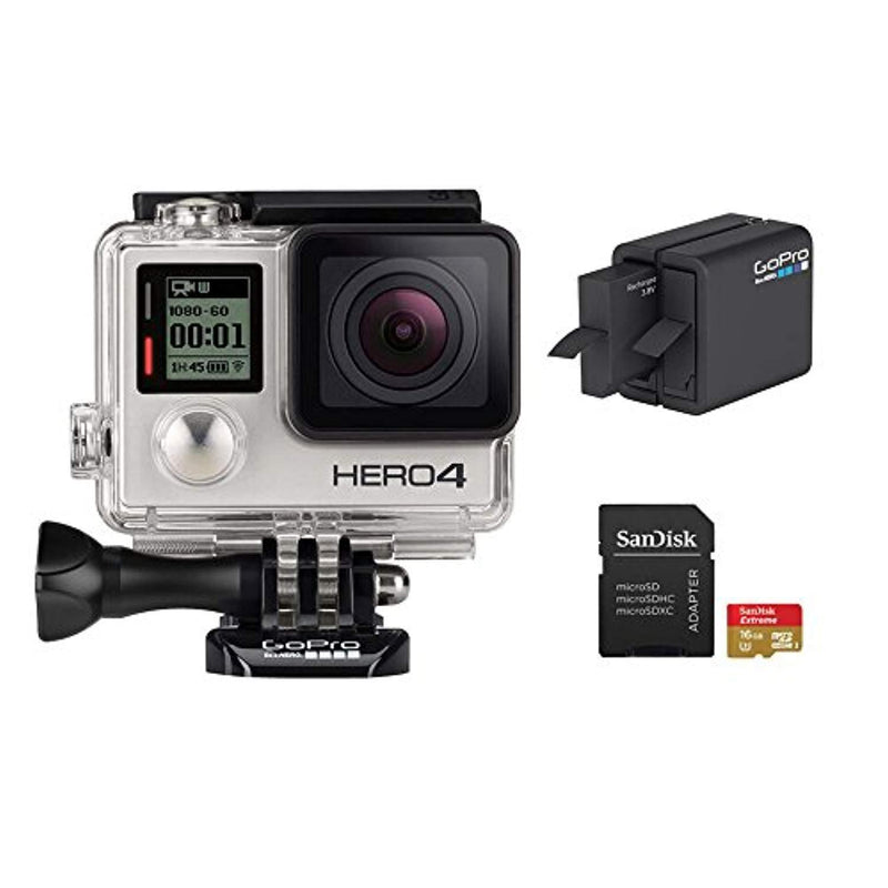 GoPro HERO 4 Silver Edition 12MP Waterproof Sports & Action Camera Bundle with 2 Batteries