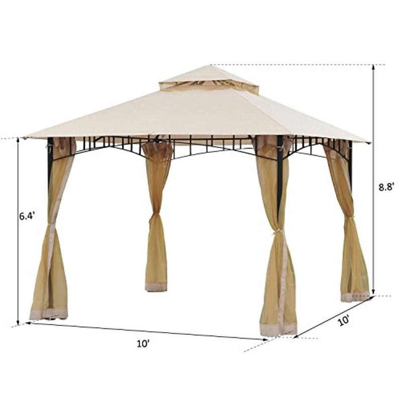 Outsunny 10' x 10' Steel Outdoor Gazebo Canopy with Mosquito Netting - Black/Beige