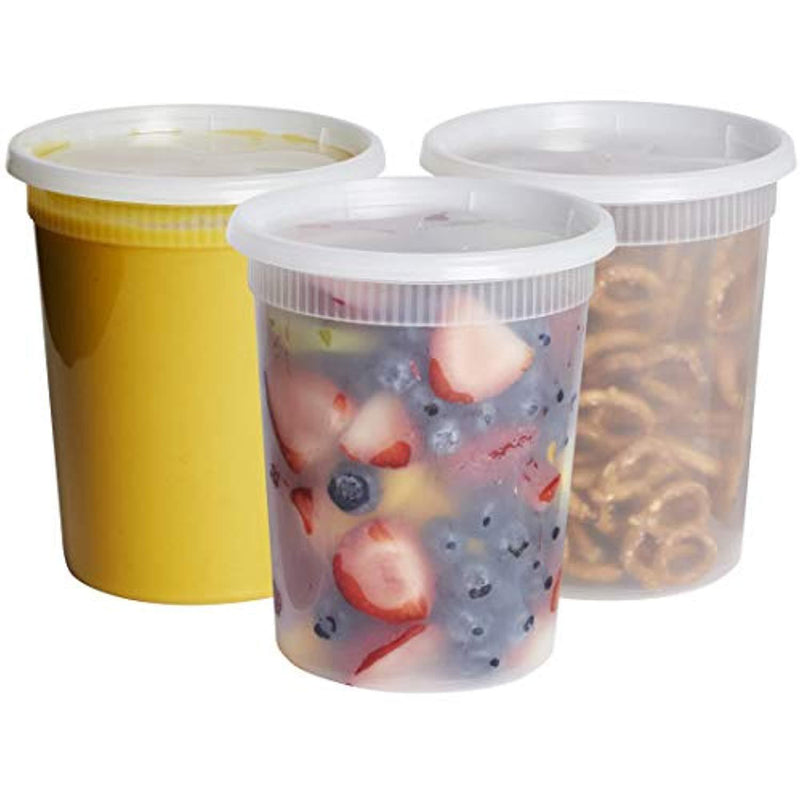 [24 Sets- 32 oz.] Plastic Deli Food Storage Containers With Airtight Lids