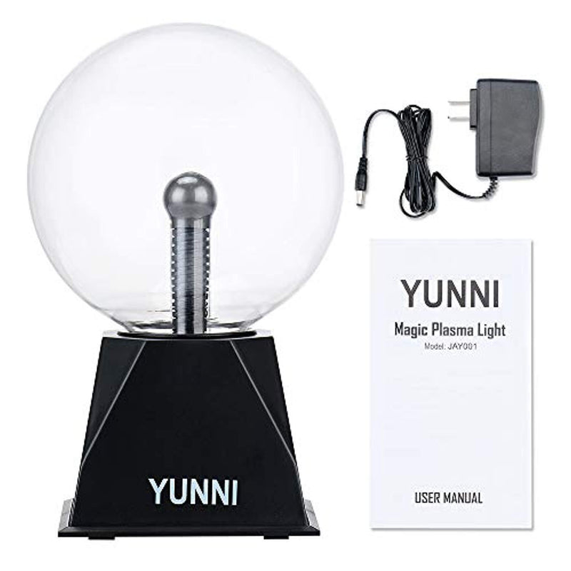 YUNNI Plasma Ball Light 6 Inch Plasma Lamp, Lightning Ball Touch & Sound Sensitive, Glass Magic Ball Lamp Nebula Sphere Globe Novelty Toy for Decorations/Kids/Bedroom/Gifts (AC Powered, Plug-in)