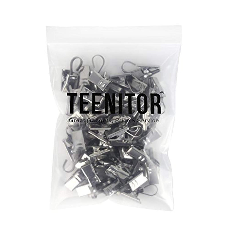 Teenitor 50 PCS Stainless Steel Curtain Clips with Hook for Curtain, Photos, Home Decoration Outdoor Party Wire Holder