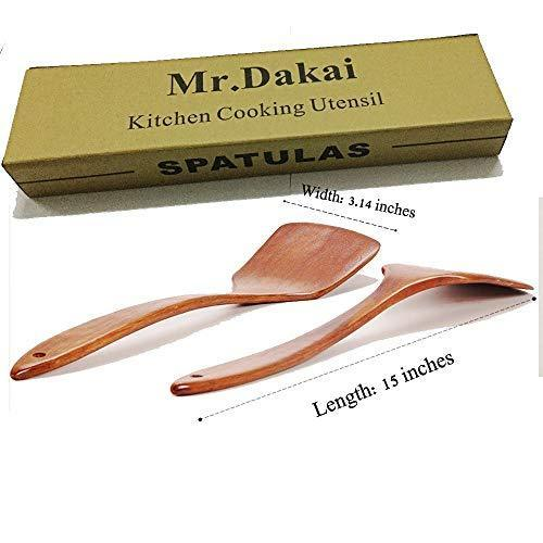 Mr.Dakai Spatula 304 Stainless Steel with Hollow Long Heat Resistant Handle Wok Utensils, Silver