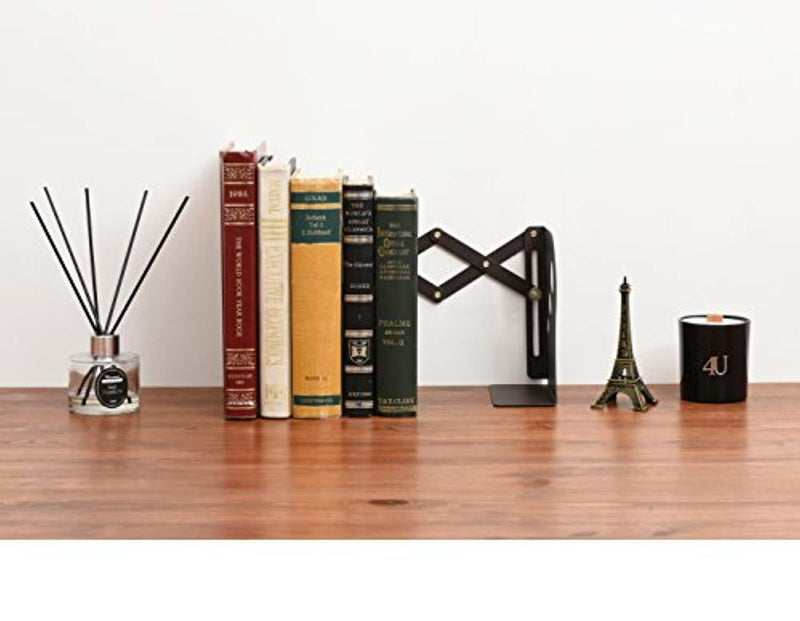 Office Square Decorative Metal Bookends - Heavy Duty & Adjustable Modern Design with Non-Skid Base