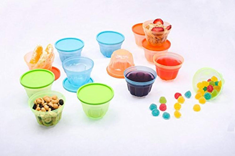 Mindable Small Lunch Box Plastic Food Containers for Kids, 12-pack 6 ounces, BPA-Free, with Lids - Good for Bento Boxes Meal Prep Portion Control Snacks Slime Protein Sauce - Stackable Freezer Safe