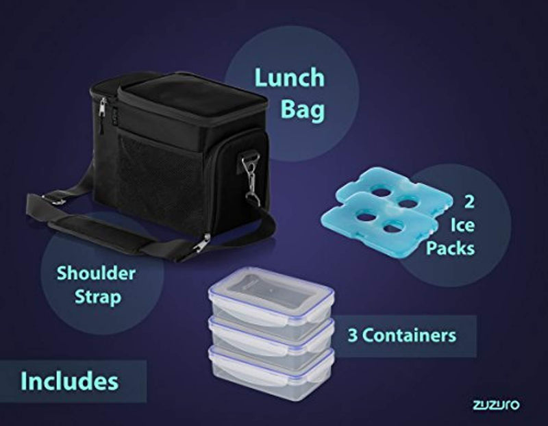 Zuzuro Lunch Bag Insulated Cooler Lunch Box w/ 3 Compartment - Heavy-Duty Fabric, Strong SBS Zippers - Includes 3 Meal Prep Lunch box Containers + 2 Ice Packs. For Men Women Adults (Black)