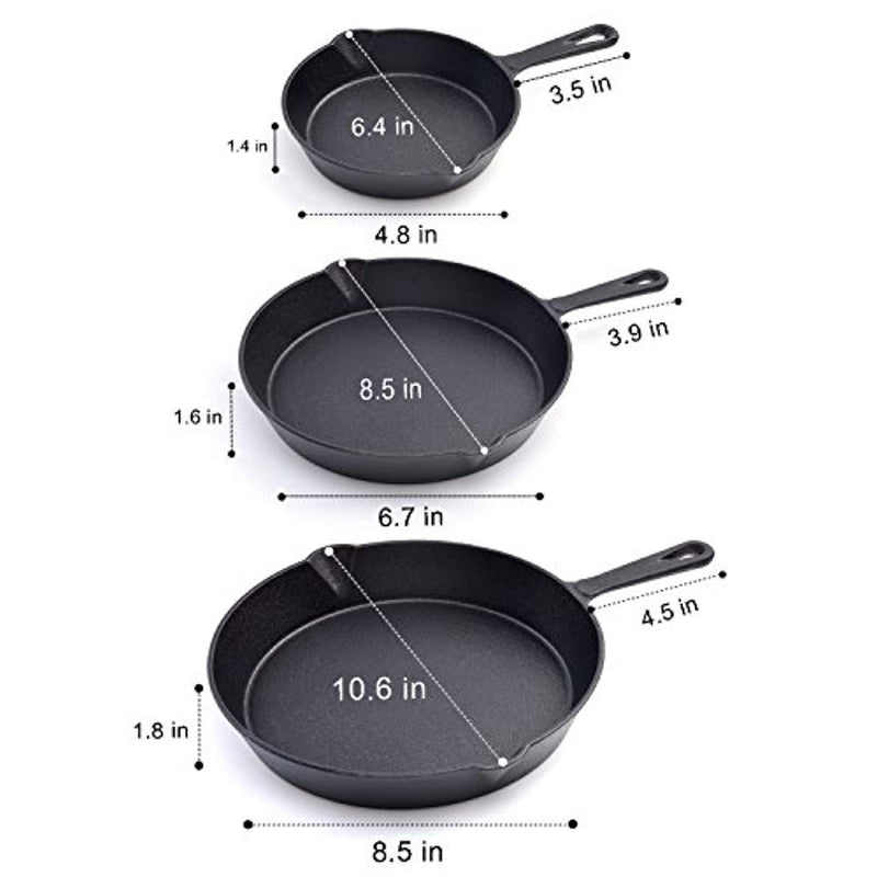 HUFTGOLD Cast Iron Skillet 3-Piece Set, Kitchen Pre-Seasoned Cast Iron Skillet Pan Set, 10-Inch, 8-Inch & 6-Inch Cookware Set