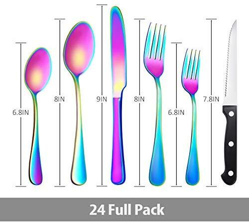 24 Piece Silverware Teivio  Set, Flatware Utensils Set Mirror Polished, Dishwasher Safe Service for 4, Include Knife/Fork/Spoon/Steak Knife/Wire Mesh Steel Cutlery Holder Storage Trays (Silver)