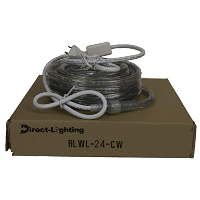 Direct-Lighting 24ft Super Bright Heavy Duty Cool White Rope Lights with 288 LEDs - Expandable to 216 Ft.