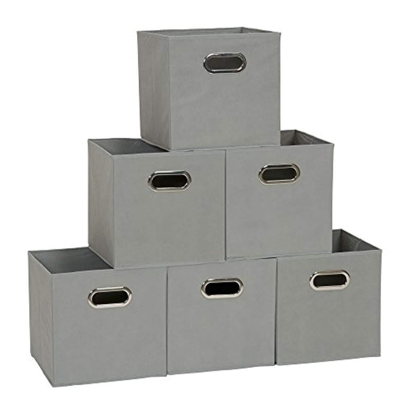 Household Essentials 84-1 Foldable Fabric Storage Bins | Set of 6 Cubby Cubes with Handles | Teafog, 6 lbs, Grey