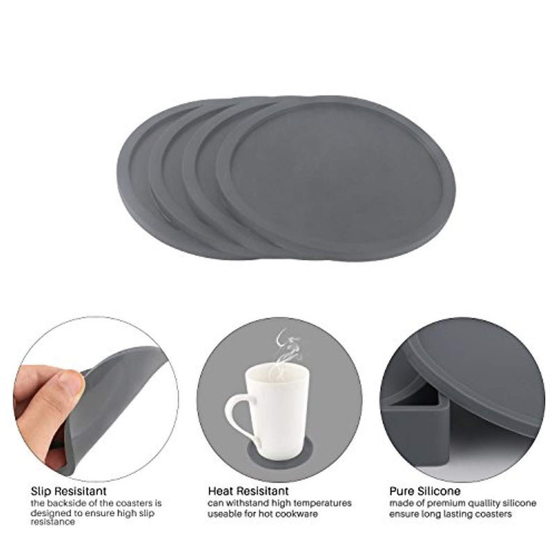 WINIT 5-Piece Silicone Coasters with Holder for Drink Absorbent, Anti-Slip Durable Reusable Eco-Friendly Large Size Coasters for Glasses on Outdoor Patio Furniture, Dinner Table or Bar (Gray)