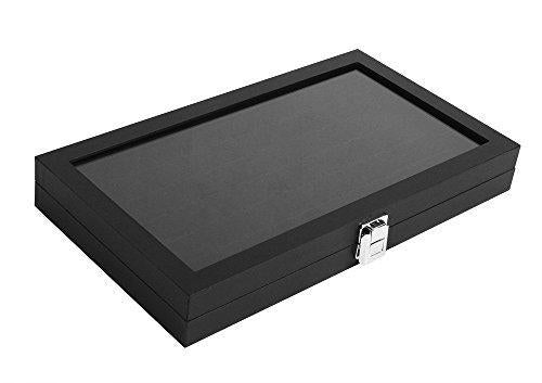 JackCubeDesign Jewelry Ring Display Organizer Storage Box Case Tray Holder with 72 Slot Ring Display(Black, Inside Black Velvet, 14.7 x 8.3 x 1.97 inches)- :MK248A