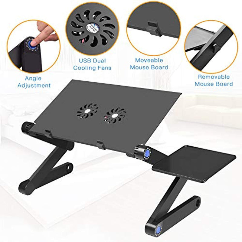 CNDT Adjustable Standing Laptop Desk Stand Table Portable Aluminum Lap Riser Holder with Dual-Cooling Fans for Bed Couch Sofa (Black)