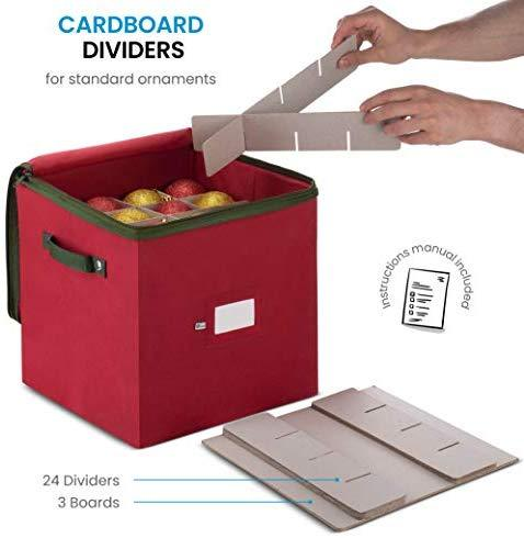Christmas Ornament Storage Box with Zippered Closure - Protect & Keeps Safe Up to 64 Holiday Ornaments & Xmas Decorations Accessories by ZOBER