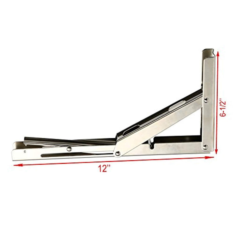 Amarine-Made 2 PCS Heavy Duty Stainless Steel Folding Shelf Bench Table Folding Shelf Bracket, Max Load: 660lb/300kg, Long Release Arm