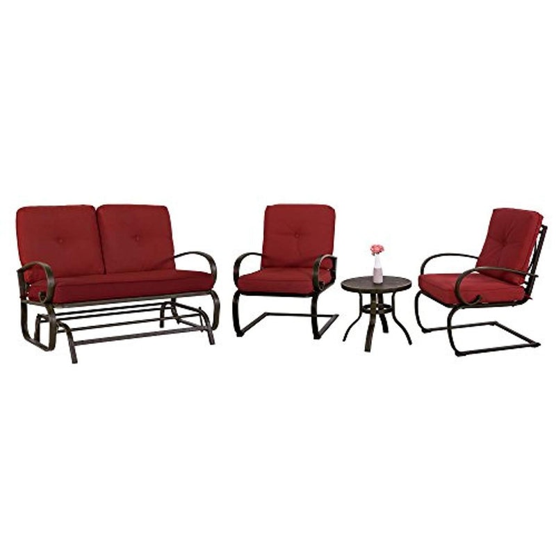 Cloud Mountain 4 Piece Metal Conversation Set Cushioned Outdoor Furniture Garden Patio Wrought Iron Conversation Set Coffee Table Loveseat Sofa 2 Chairs, Brick Red