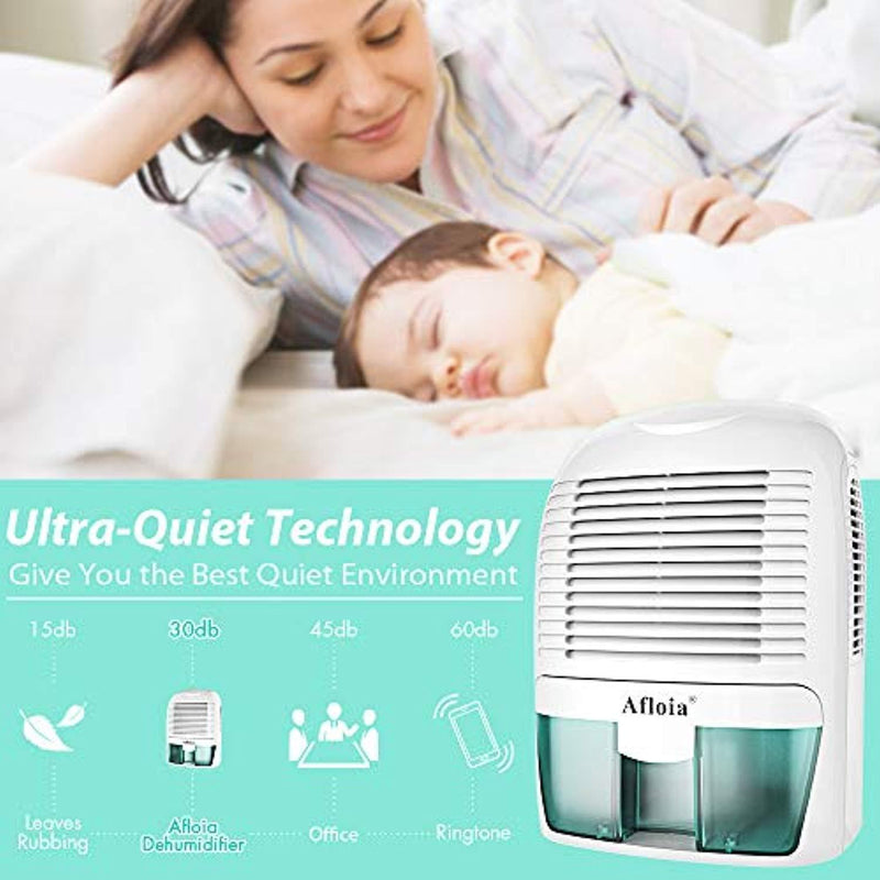 Afloia Electric Home Dehumidifier, Protable Mini Dehumidifier for Home 2200 Cubic Feet Ultra Quiet Air Dehumidifiers for Bathroom Home Bedroom Kitchen Basement Office Garage Caravan