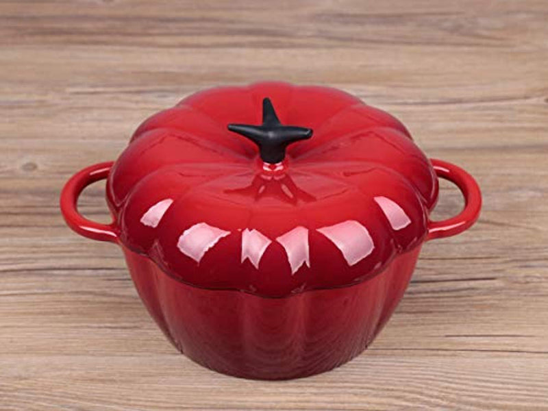 "Waykea Enameled Cast Iron Dutch Oven Casserole with Self-Basting Ridges Lid Dual Handles | Indoor Kitchen Outdoor Grill Camping Use | 9"" / 3.2 Quart, Red"