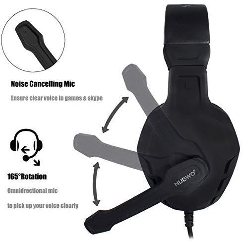 MODOHE Gaming Headset, Xbox One PS4 Headset, Noise Cancelling Over Ear Gaming Headphone Mic, Comfort Earmuffs, Lightweight, Easy Volume Control for Xbox 1 S/X Playstation 4 Computer Laptop(Black)