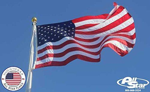 Premium American Flag 3x5' - 100% Made in the USA - Durable, Long Lasting, Bright & Vivid Nylon Material - Densely Embroidered Stars, Sewn Stripes with Lock Stitching, Four Rows of Lock Stitching on the Fly End, Tough Enough for Both Commercial and Reside
