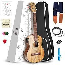 "Vangoa - UK-26K Tenor 26"" inches Acoustic Ukulele in KOA with Nylon Strap, Pick, Pick Container, Carry Bag, Tuner, KAZOO, Backup Strings, Finger shaker"