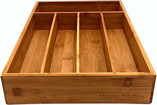 Bamboo Cutlery tray-Silverware Organizer-5 compartment-by Utopia Kitchen