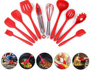 Silicone Heat Resistant Kitchen Cooking Utensil 10 Piece Cooking Set Non-Stick Kitchen Tools (Red)