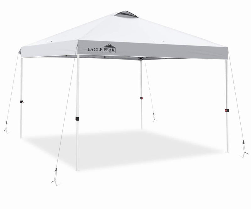 EAGLE PEAK 10' x 10' Pop Up Canopy Tent Instant Outdoor Canopy Straight Leg Shelter with 100 Square Feet of Shade (White)