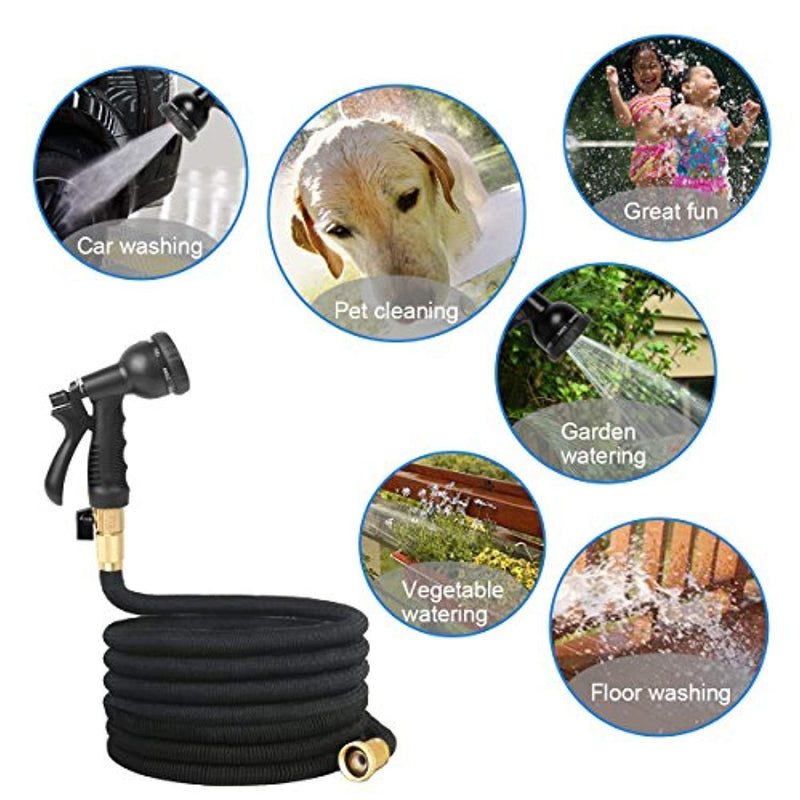 Jogboy Expandable Garden Hose, 50 ft Water Hose with Triple Layer Latex and Solid Brass Fittings, Flexible Expanding Hose for Yard, 8 Functions Spray Nozzle & Extra Strength Fabric