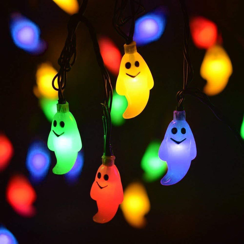 LEVIITEC Solar Halloween Decorations String Lights, 30 LED Waterproof Cute Ghost LED Holiday Lights for Outdoor Decor, 8 Modes Steady/Flickering Lights [Light Sensor] 19.7ft Blue