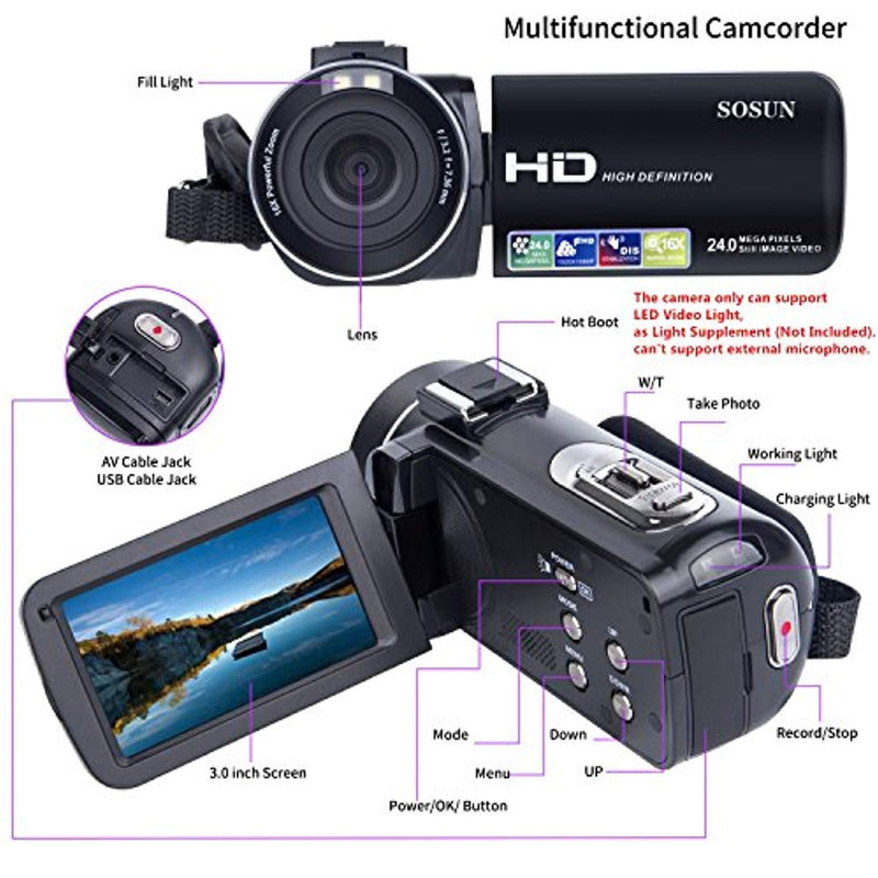 Video Camera Camcorder SOSUN HD 1080P 24.0MP 3.0 Inch LCD 270 Degrees Rotatable Screen 16X Digital Zoom Camera Recorder and 2 Batteries(301S-Plus)