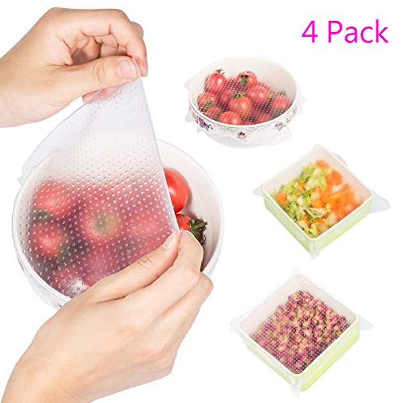 Magik Stretch Reusable Silicone Bowl Food Storage Wraps Cover Seal Fresh Lids (4 Pack, Transparent)