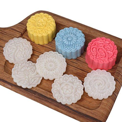 HIRALIY 50g 6 Stamps Cookie Stamps Moon Cake Mold, Thickness Adjustable Christmas Cookie Press DIY Decoration Hand Press Cutter Cake Mold