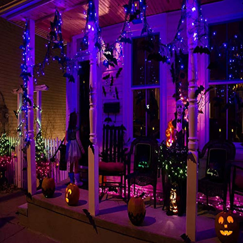Solar Christmas String Lights, 300 LED 92ft Halloween Lights, Xmas Decorative Lights 8 Modes Outdoor Fairy Lighting for Indoor Outdoor Home Garden Patio Wedding Holiday Halloween Theme Party Purple