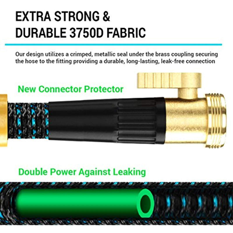 [New 2018] Expandable Garden Hose 50Ft Extra Strong – Brass Connectors with Protectors 100% No-Rust & Leak, 9-Way Spray Nozzle - Best Water Hose for Pocket Use - 100% Flexible Expanding up to 50 ft