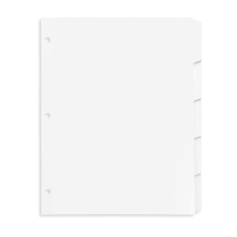 Blue Summit Supplies 3 Ring Binder Dividers with Reinforced Edge, 1/5 Cut Tabs, Letter Size, 3 Hole Punch Section Index Dividers for Binders, White, 100 Page Divider Pack