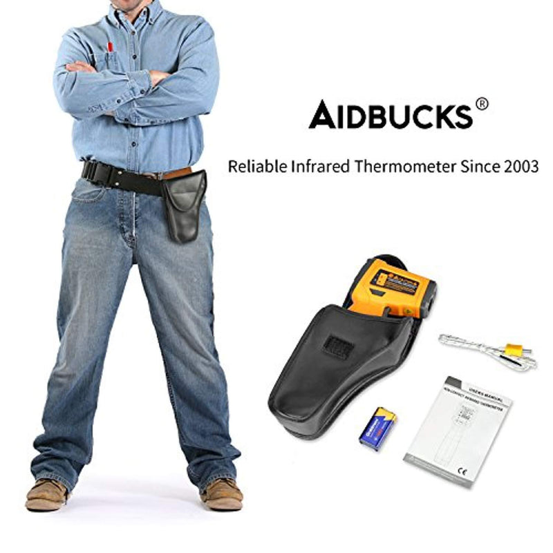 Infrared Thermometer AIDBUCKS AD6530D Digital Laser Non Contact Cooking IR Temperature Gun -58°F to 1472°F with Color Display K-Type Thermocouple for Kitchen Food Meat BBQ Automotive and Industrial