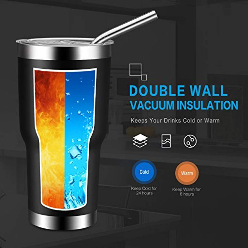 Homitt 30 oz Stainless Steel Tumbler Double Wall Insulated Vacuum Tumbler Powder Coated Tumbler with Splash Proof Lid, 2 Stainless Straw, Cleaning Brush | Gift for Families, Friends, Colleagues