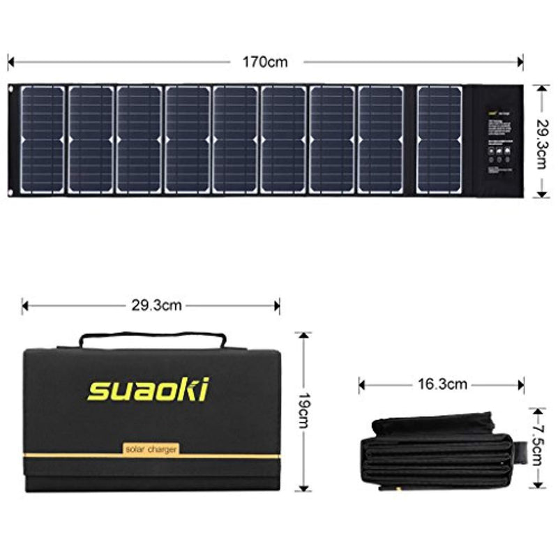 SUAOKI Solar Charger 60W Portable Solar Panel Foldable High Efficiency 5V USB 18V DC Dual Output Charger for Laptop Tablet GPS iPhone iPad Camera Other 5-18V Device