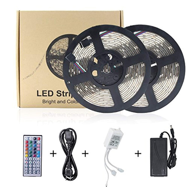 LED Strip Lights,Petsmoe LED Light Strip Tape Lights Waterproof 32.8 Ft 5050 RGB 300 Leds DC 12V Power Supply 44 Key IR Remote Controller,Strong Sponge Adhesive Tape For Bedroom,Living Room,Kitchen.