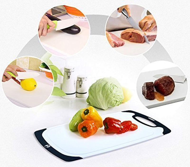 Chef Splendid 3-Piece Non-Slip Plastic Cutting Board Set, Drip Juice Groove, Dishwasher Safe, BPA Free, FDA Approved