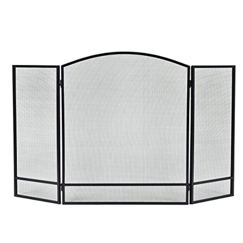 Costzon 3 Panel Fireplace Screen Foldable Arch Home Fire Protection Furniture Decor