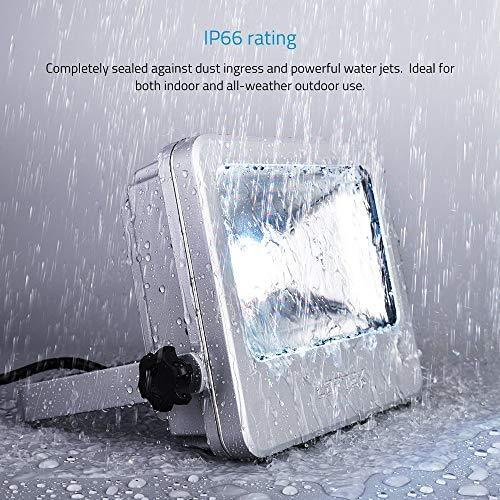 Nova S 50W RGB LED Flood LOFTEK Light, Outdoor IP66 Waterproof Explosion-Proof Glass Color Changing Light with Remote Control, Wall Washer Light, 3.9 Feet Wire, No Plug Need Hard Wiring, Black