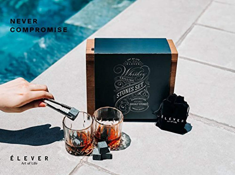 ÉLEVER - Whiskey Stones and Whiskey Glasses Gift Set - Premium Chilling Rocks