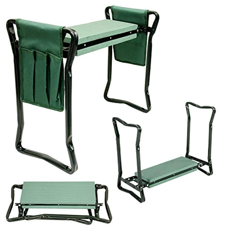 U.S. Garden Supply Foldable Garden Kneeler and Seat with 2 Tool Pouches - Soft EVA Foam Knee Pad Cushion - Portable Folding Stool Bench Chair