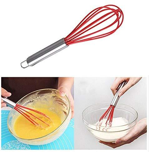 TEEVEA  Silicone Whisk, Balloon Whisk Set, Wire Whisk, Egg Frother, Milk and Egg Beater Blender - Kitchen Utensils for Blending, Whisking, Beating, Stirring, Set of 3, Red,Yellow, Blue