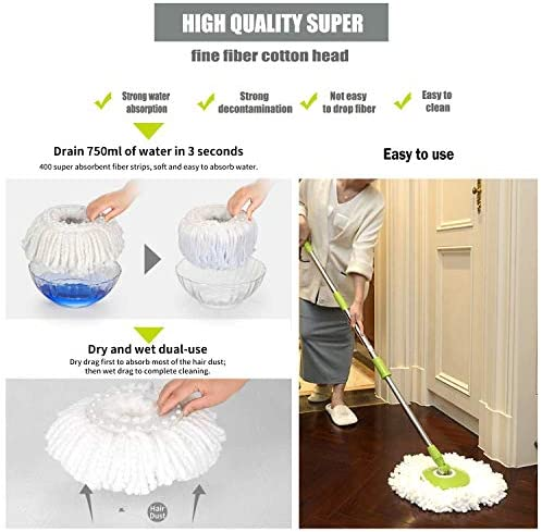 Microfiber Replacement Mop Head Refill for 360° Spin Magic Mop - Round Shape Standard Universal Size (5 Pack) by FAMEBIRD