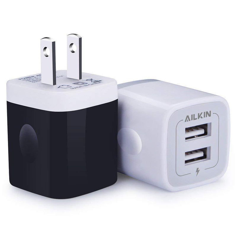 USB Wall Charger, Charger Adapter, Ailkin 2-Pack 2.1Amp Dual Port Quick Charger Plug Cube Replacement for iPhone 7/6S/6S Plus/6 Plus/6/5S/5, Samsung Galaxy S7/S6/S5 Edge, LG, HTC, Huawei, Moto, Kindle